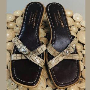 Donald J Pliner tan Croc Embossed Mule Sandal 7